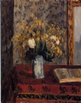 vase of flowers tulips and garnets by camille pissarro painting