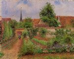 vegetable garden in eragny overcast sky morning by camille pissarro painting
