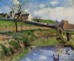 view of a farm in osny by camille pissarro painting-36539