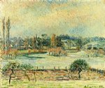 view of bazincourt flood morning effect by camille pissarro painting