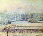 view of bazincourt frost morning by camille pissarro painting