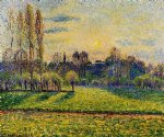 view of bazincourt sunset by camille pissarro painting-36542