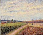 view of eragny ii by camille pissarro painting