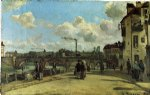 view of pontoise quai du pothuis by camille pissarro painting