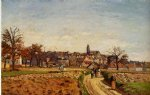 view of pontoise by camille pissarro painting