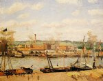 view of the cotton mill at oissel near rouen by camille pissarro painting