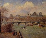 camille pissarro view of the seine from the raised terrace of the pont paintings-36556
