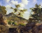 village at the foot of a hill in saint thomas antilles by camille pissarro painting