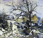 winter at montfoucault by camille pissarro painting