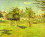 camille pissarro woman in an orchard spring sunshine in a field eragny paintings