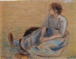 woman sitting on the floor by camille pissarro painting