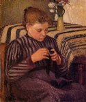young girl mending her stockings by camille pissarro painting