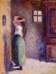 young peasant at her toilette by camille pissarro painting