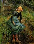 young peasant girl with a stick by camille pissarro painting