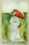young woman with an umbrella by camille pissarro painting
