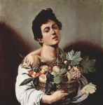 boy with a basket of fruit by caravaggio painting