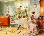 an interior with a woman reading by carl larsson painting