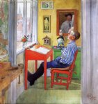 esbjorn doing his homework ii by carl larsson painting