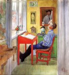 esbjorn doing his homework by carl larsson painting