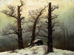 dolmen in the snow by caspar david friedrich painting
