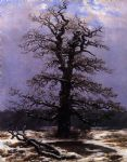 oak in the snow by caspar david friedrich painting