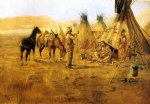 charles marion russell cowboy bargaining for an indian girl painting-36056