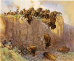 driving buffalo over the cliff by charles marion russell painting