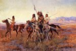 four mounted indians by charles marion russell painting