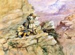 hunting big horn sheep by charles marion russell painting