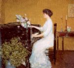 at the piano by childe hassam painting