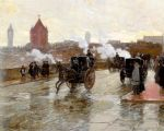 clearing sunset by childe hassam painting