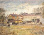childe hassam end of the trolley line paintings-78643