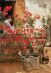 geraniums by childe hassam painting