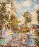in a french garden by childe hassam paintings