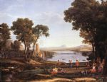 claude lorrain landscape with dancing figures painting 80160