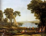 landscape with the marriage of isaac and rebekah by claude lorrain painting