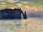 etretat sunset by claude monet painting