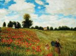 poppy paintings - poppy field in argenteuil iii by claude monet