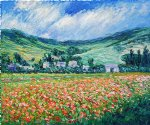 poppy paintings - poppy field near giverny by claude monet