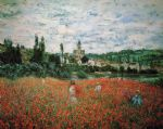 poppy field near vetheuil by claude monet painting
