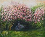 resting under the lilacs ii by claude monet painting