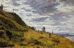 taking a walk on the cliffs of sainte adresse by claude monet painting
