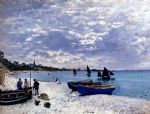 beach oil paintings - the beach at sainte adresse by claude monet