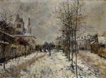 the boulevard de pontoise at argenteuil snow effect by claude monet painting