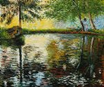 claude monet the pond at montgeron 1876 painting