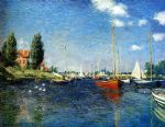 boat paintings - the red boats argenteuil by claude monet
