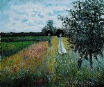 walking near argenteuil by claude monet painting