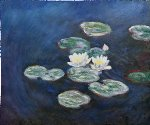 waterlilies evening by claude monet painting