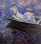 young girls in a row boat by claude monet painting
