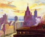 rooftops at sunset by colin campbell cooper painting